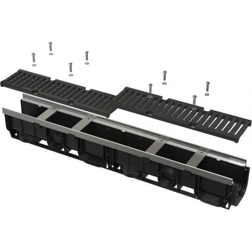 ALCAPLAST Venkovní žlab 1m 100 mm pozinkovaný rám a litinový rošt D400 AVZ103-R201 (AVZ103-R201)