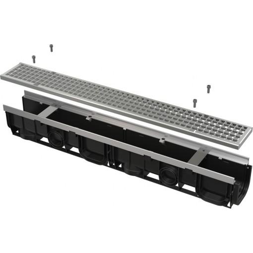 ALCAPLAST Venkovní žlab 1m 100 mm pozinkovaný rám a rošt C250 AVZ103-R104 (AVZ103-R104)