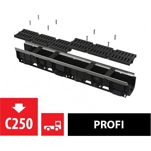 ALCAPLAST Venkovní žlab 1m 100 mm s kovovým rámem a kompozitním roštem C250 AVZ103-R403 (AVZ103-R403)