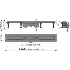 Alcaplast APZ12-1050 plastový podlahový žlab s okrajem pro perforovaný rošt nebo vložení dlažby APZ12-1050