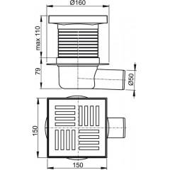 ALCAPLAST Podlahová vpust 150 × 150/50 boční, mřížka šedá, vodní zápachová uzávěra APV5211 (APV5211)