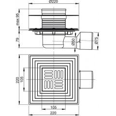 Podlahová vpust 105x105/50/75 boční,mříž nerez, 2.úrovně izolace,kombi zápach.uzávěra ALCAPLAST APV3344 (APV3344)