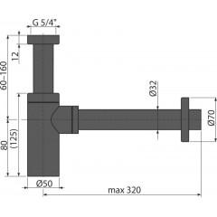 "ALCAPLAST Sifon umyvadlový 5/4""x32 A400BLACK DESIGN spodek,celokovový černý (A400BLACK)"