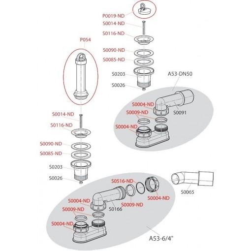 Alcaplast P054 sifonovýND Přepadová trubka se zátkou pro A461, A462 Alcaplast plast (P054)