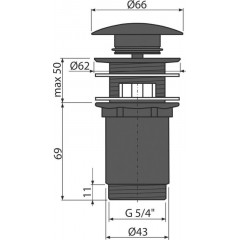 ALCAPLAST Sifonová vpusť 5/4 click/clack ČERNÁ celokovová velká zátka(Alca Plast) A392BLACK (A392BLACK)
