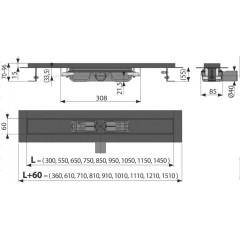 Alcaplast APZ101BLACK-850 podlahový žlab výška 55mm kout min. 900mm (APZ101BLACK-850)