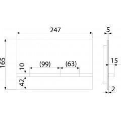 Alcaplast STRIPE alunox-mat/lesk, ovládací deska tlačítko, pro předstěnové instalační systémy (STRIPE)