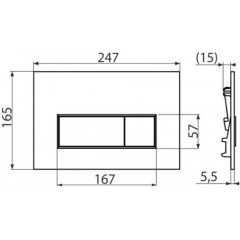 Alcaplast ovládací deska M571 chrom lesk, THIN tloušťka 5,5 mm (M571)