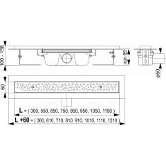 Alcaplast Podlahový žlab 1050mm antivandal s roštem BUBLE lesklý APZ11-1050L (APZ11-1050L)