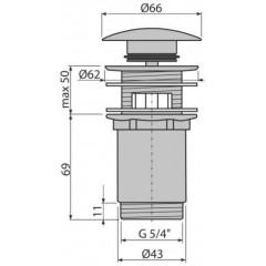 """Alcaplast Výpust umyvadlová CLICK/CLACK 5/4"""" celokovová s přepadem, velká zátka - A392C (A392C)"""
