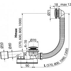 ALCAPLAST - Alca Sifon vanový CLICK/CLACK, kov délka 800mm A507CKM-80 (A507CKM-80)
