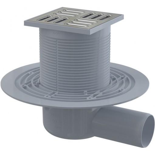Alcaplast Podlahová vpust 105×105/50 mm boční, mřížka nerez, kombinovaná zápachová uzávěra SMART APV1321 (APV1321)