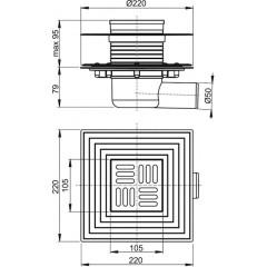 Alcaplast Podlahová vpust 105×105/50 mm boční, mřížka nerez, nerezová příruba a límec 2. úrovně izolace, (APV1324)