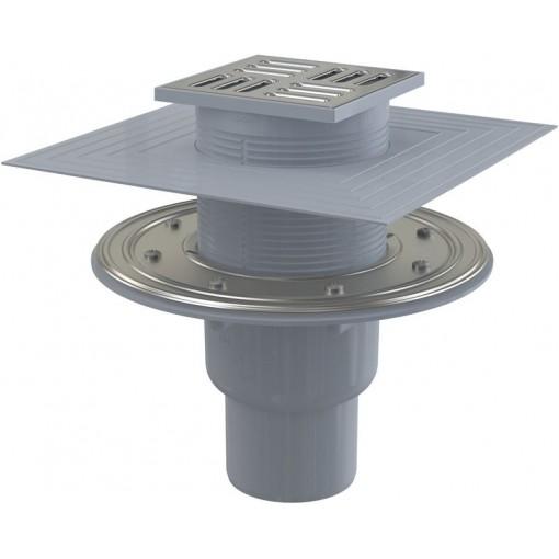 Alcaplast Podlahová vpust 105×105/50/75 mm přímá, mřížka nerez, nerezová příruba a límec 2. úrovně izolace, kombinovaná zápachová uzávěra SMART APV2324 (APV2324)