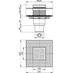 Alcaplast Podlahová vpust 105×105/50/75 mm přímá, mřížka nerez, nerezová příruba a límec 2. úrovně izolace, vodní a suchá zápachová uzávěra APV4344 (APV4344)