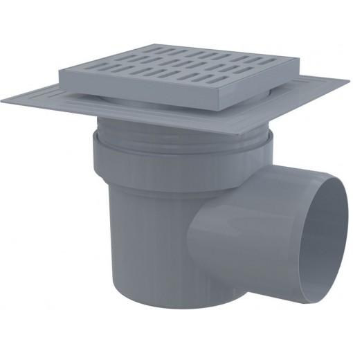 Alcaplast Podlahová vpust 150×150/110 mm boční, mřížka šedá, límec 2. úrovně izolace, vodní zápachová uz (APV10)