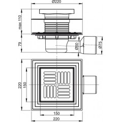 Alcaplast Podlahová vpust 150×150/50/75 mm boční, mřížka nerez, nerezová příruba a límec 2. úrovně izola (APV3444)