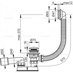 Alcaplast Sifon vanový CLICK/CLACK, kov A505KM-80 (A505KM-80)