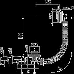Alcaplast Sifon vanový CLICK/CLACK, kov A507KM-120 (A507KM-120)