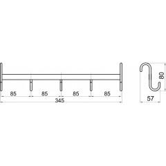 NOVASERVIS - Pětiháček na otopný žebřík Metalia Drátěný program chrom 6002,0
