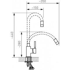 NOVASERVIS - Dřezová stojánková baterie,černá-chrom s elastickým ramenem 70710,0C