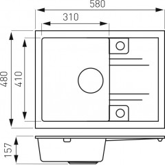 NOVASERVIS - Granitový dřez s odkapem, s přepadem z dřezu, grafit DRGM48/58HA