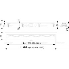 Alcaplast APZ8-950M plastový žlab s roštem kout min. 1000mm Simple, vlnka (APZ8-950M)