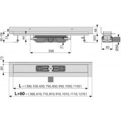 Alcaplast APZ116-750 LOW Podlahový žlab s okrajem pro plný rošt, pevný límec ke stěně kout min. 800mm APZ116-750