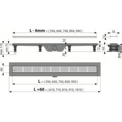 Alcaplast APZ10-650M plastový žlab s roštem kout min. 700mm Simple APZ10-650M