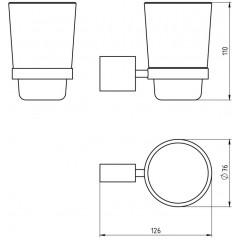 NOVASERVIS - Držák kartáčků a pasty sklo Metalia 10 chrom 0006,0