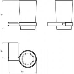 NOVASERVIS - Držák kartáčků a pasty sklo Metalia 9 chrom 0906,0