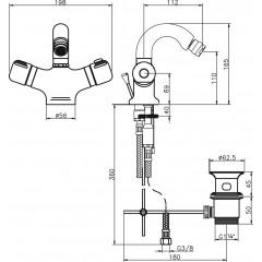 NOVASERVIS - Bidetová baterie termostatická s výpustí Aquamat chrom 2611,0