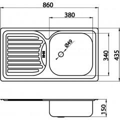 NOVASERVIS - Dřez 43,5x86 s odkapem a přepadem nerez DR43/86