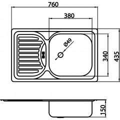 NOVASERVIS - Dřez 43,5x76 s odkapem a přepadem nerez DR43/76