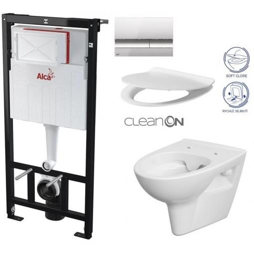 ALCAPLAST Sádromodul - předstěnový instalační systém s chromovým tlačítkem M1721 + WC CERSANIT CLEANON PARVA + SEDÁTKO AM101/1120 M1721 PA2