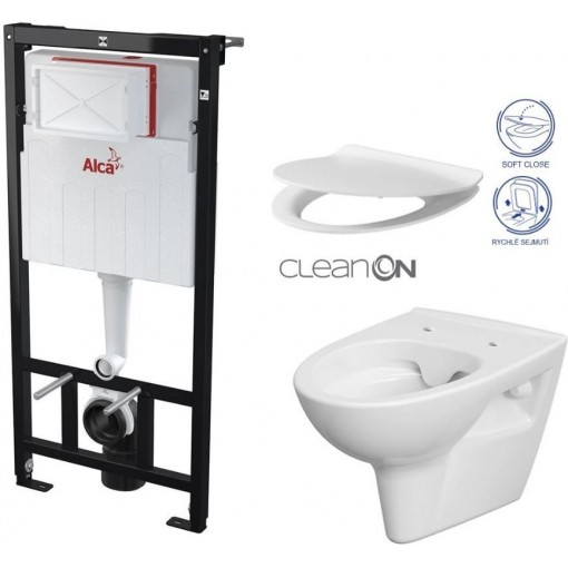 ALCAPLAST Sádromodul - předstěnový instalační systém bez tlačítka + WC CERSANIT CLEANON PARVA + SEDÁTKO AM101/1120 X PA2