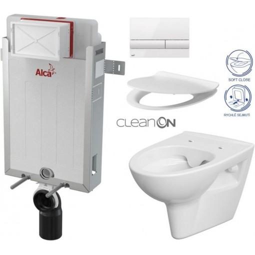 ALCAPLAST Renovmodul - předstěnový instalační systém s bílým tlačítkem M1710 + WC CERSANIT CLEANON PARVA + SEDÁTKO AM115/1000 M1710 PA2