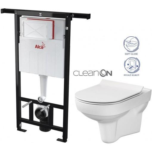 ALCAPLAST Jádromodul - předstěnový instalační systém bez tlačítka + WC CERSANIT CITY NEW CLEANON + WC SEDÁTKO SLIM AM102/1120 X CI2