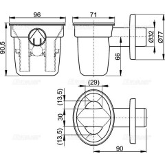 Sifonová nálevka s kuličkou pro odkapávající kondenzát DN32mm ALCAPLAST AKS1Z (AKS1Z)