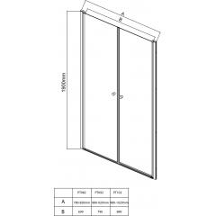 AQUALINE - PILOT otočné sprchové dveře dvojkřídlé 900mm (PT092)
