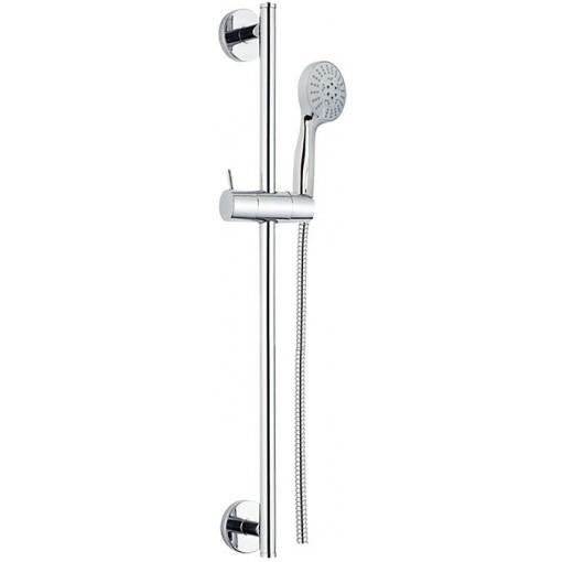 MEREO - Sprchová souprava, pětipolohová sprcha, dvouzámková nerez hadice, stavitelný držák, plast/chrom (CB900R)