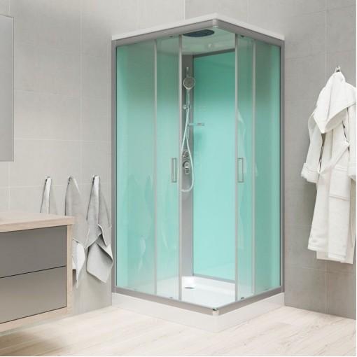 MEREO - Sprchový box, čtvercový, 90cm, satin ALU, sklo Point, zadní stěny zelené, SMC vanička, se stříškou (CK34122BS)