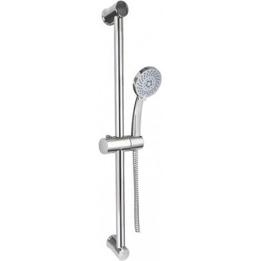MEREO - Sprchová souprava, pětipolohová sprcha, spirálová černá hadice, stavitelný držák, plast/chrom (CB900B)