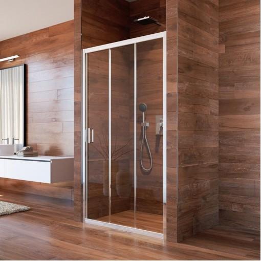 MEREO - Sprchové dveře, Lima, trojdílné, zasunovací, 80x190 cm, chrom ALU, sklo Point (CK80612K)