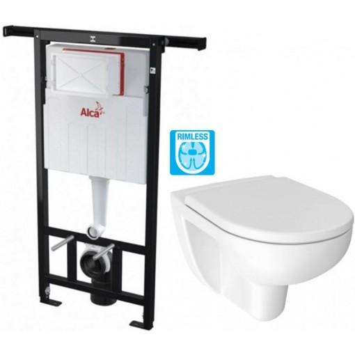 ALCAPLAST Jádromodul - předstěnový instalační systém bez tlačítka + WC JIKA LYRA PLUS RIMLESS + SEDÁTKO DURAPLAST AM102/1120 X LY1