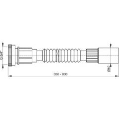 """Alcaplast Flexi připojení 6/4""""×40 kov (A790)"""