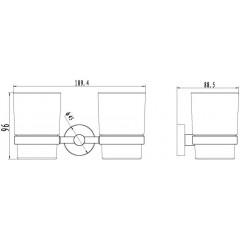 NOVASERVIS - Dvojitý držák kartáčků a pasty sklo Mephisto chrom 6857,0