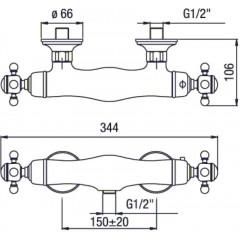 SAPHO - SASSARI nástěnná sprchová termostatická baterie, chrom SR245
