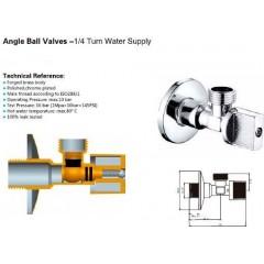 AQUALINE - Rohový kulový ventil 1/2'x3/8', bez matky, chrom 5306