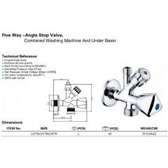 AQUALINE - Kombinovaný ventil 1/2'x3/4'x3/8', chrom 5309